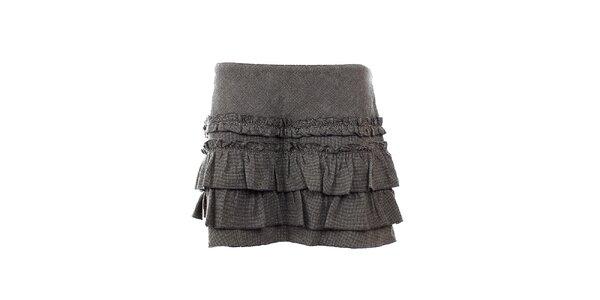 Dámská šedá volánová sukně s příměsí vlny GAS