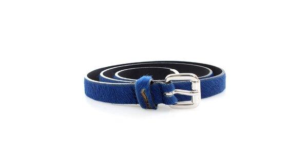 Dámský modrý pásek s kožešinkou GAS