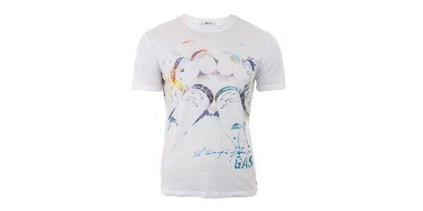Pánské bílé tričko s barevným potiskem GAS