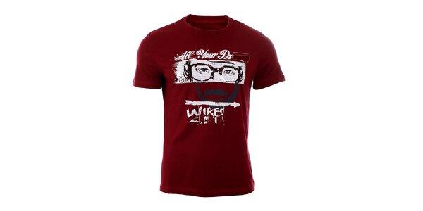 Pánské tmavě červené tričko GAS s potiskem