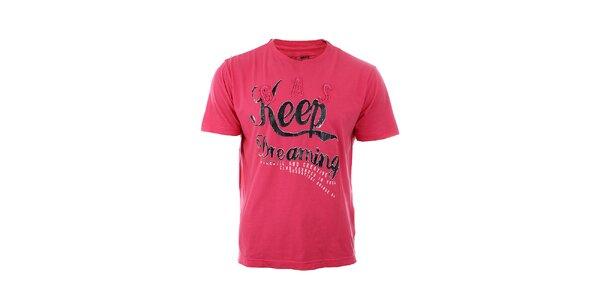 Pánské červeno-růžové tričko GAS s potiskem