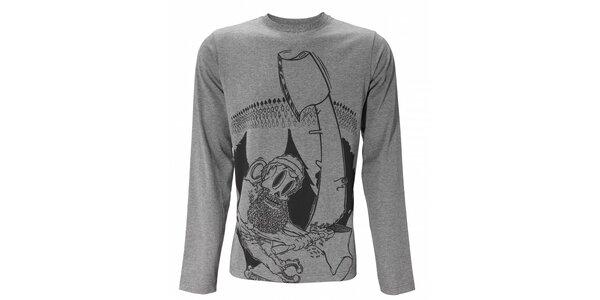 Pánské světle šedé melírované tričko Fundango s dlouhým rukávem a potiskem