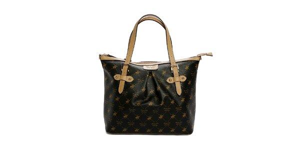 Dámská černo-béžová kabelka s potiskem Beverly Hills Polo Club