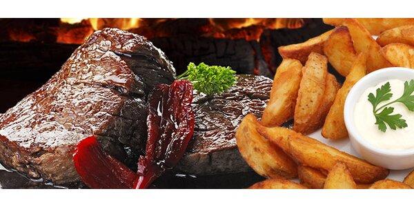 2x hovězí steak z roštěnce včetně přílohy