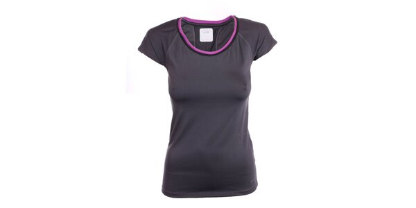Dámské černé tričko s fialovým lemem Freddy
