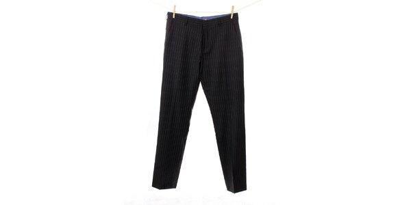 Pánské antracitově šedé vlněné kalhoty s proužkem Tommy Hilfiger