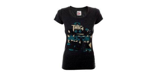 Dámské tmavě šedé tričko s potiskem Tommy Hilfiger