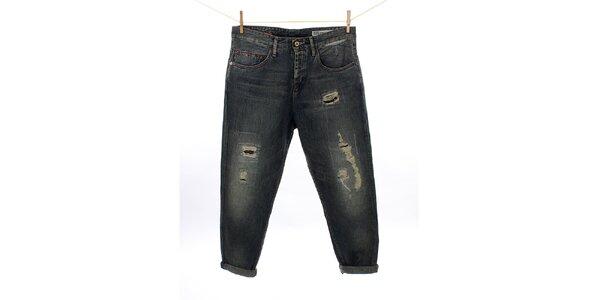 Dámské tmavé vintage džíny Tommy Hilfiger se záplatami