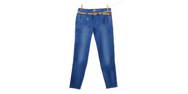 Dámské modré kalhoty Tommy Hilfiger s pleteným páskem