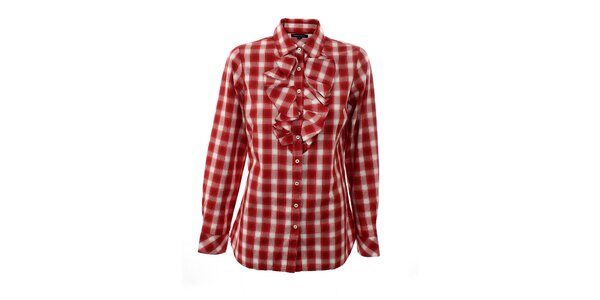 Dámská červeno-bílá kostkovaná košile s fiží Tommy Hilfiger