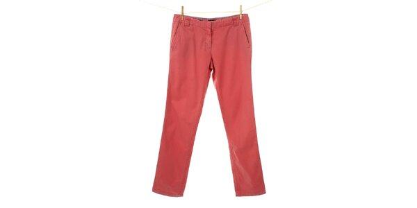 Dámské korálově červené plátěné kalhoty Tommy Hilfiger