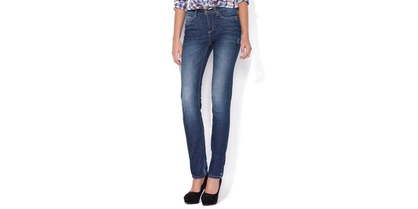 Dámské rovné světle modré džíny Blue Roses s vyšisovanými koleny