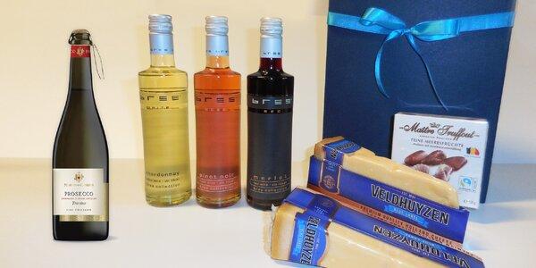 Dárková kazeta: víno či prosecco a sýr i pralinky
