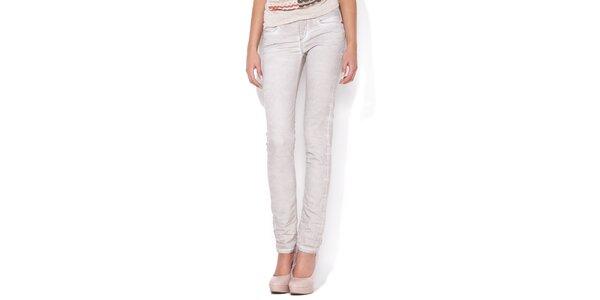 Dámské úzké šedo-bílé skinny jeans Blue Roses