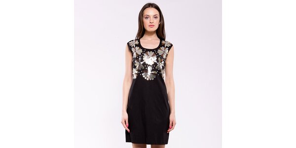 Dámské černo-stříbrné společenské šaty Almatrichi