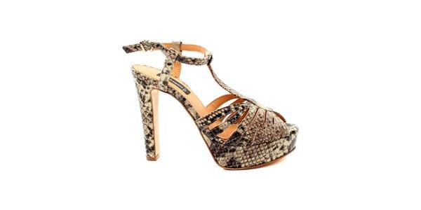 Dámské béžové sandálky s hadím vzorem Bagatt
