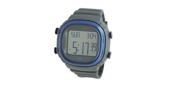 Tmavě šedé digitální hodinky Adidas s modrými detaily
