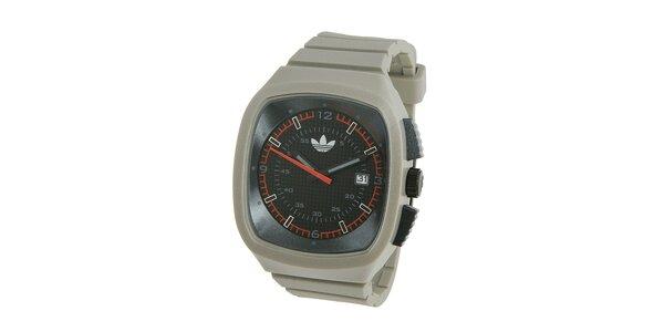 Světle šedé silikonové hodinky Adidas s metalickým odleskem