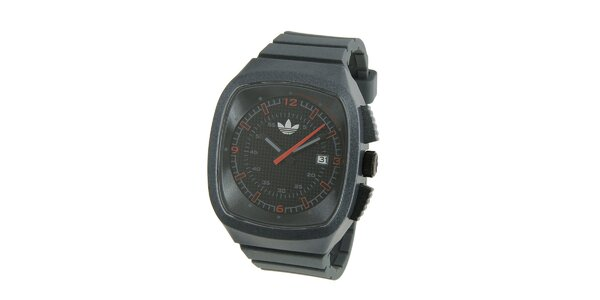 Tmavě šedé silikonové hodinky Adidas s metalickým odleskem
