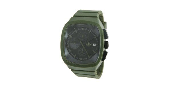 Tmavě zelené silikonové hodinky Adidas s metalickým odleskem