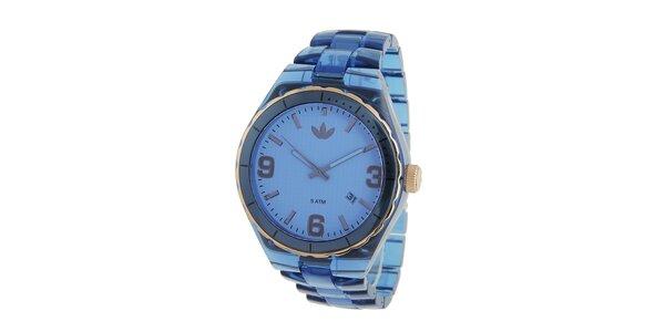 Dámské tmavě modré transparentní hodinky Adidas se zlatými detaily