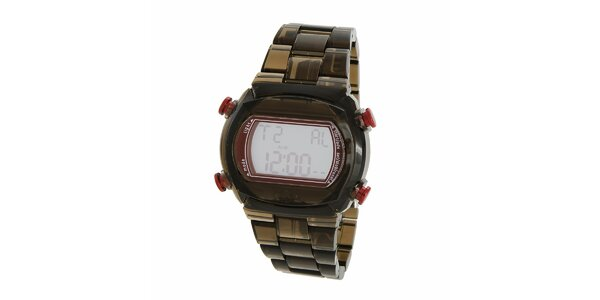 Černé transparentní digitální hodinky Adidas s růžovými detaily
