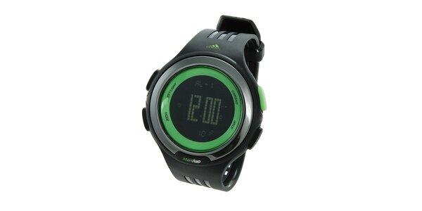 Černé sportovní digitální hodinky Adidas se zelenými detaily