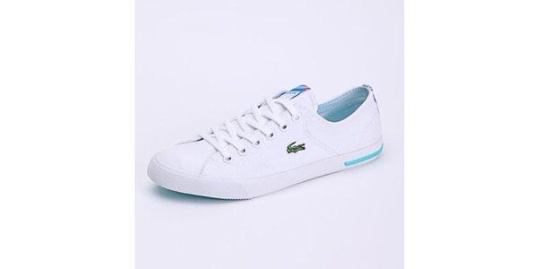 Dámské plátěné bílé tenisky Lacoste s barevným proužkem