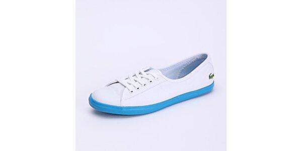 Dámské bílé tenisky s modrou podrážkou Lacoste