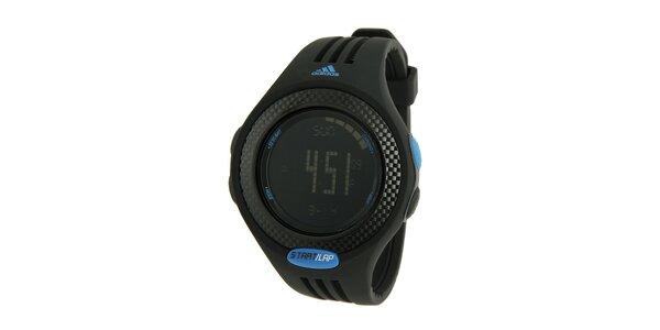 Černé digitální hodinky Adidas s modrými detaily