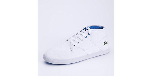 Pánské bílé kotníkové tenisky s modrými detaily Lacoste
