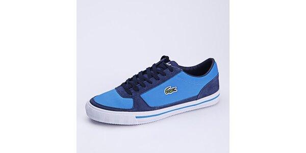 Pánské modré plátěné tenisky s koženými prvky Lacoste