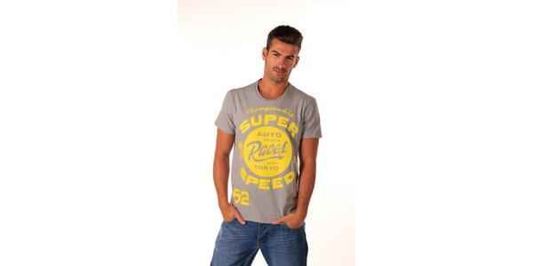 Pánské šedé tričko se žlutým potiskem Celop