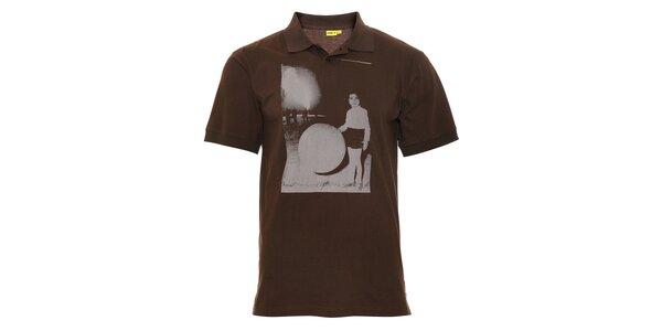 Hnědé pánské polo tričko Humdrum s potiskem