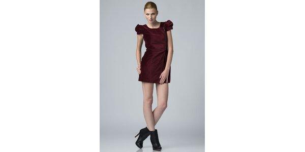 Dámské vínové sametové šaty Eleven Paris