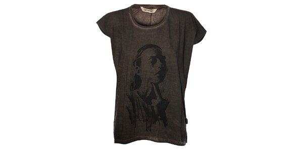 Dámské antracitové tričko Eleven Paris s potiskem