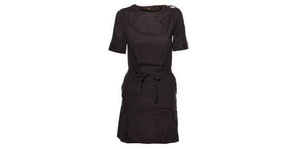 Dámské tmavě šedé kostkované flanelové šaty Eleven Paris