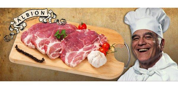 DVA steaky z krkovičky s křenem, hořčicí i pečivem