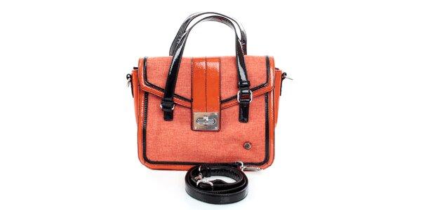 Dámská oranžovo-černá kabelka United Colors of Benetton s lakovanými detaily