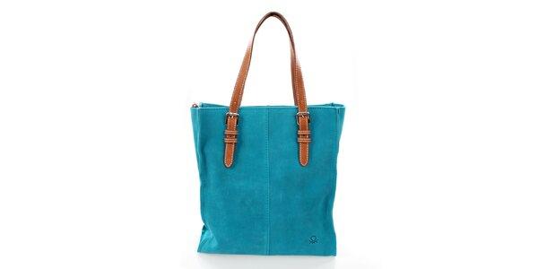 Dámská tyrkysová kožená kabelka United Colors of Benetton