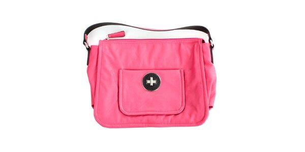 Dámská sytě růžová kabelka s vnější kapsou United Colors of Benetton