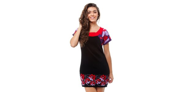 Dámské černé pletené šaty Avispada s barevným vzorem