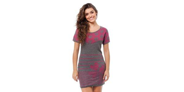 Dámské šedo-růžové úpletové šaty Avispada s trojlístkem