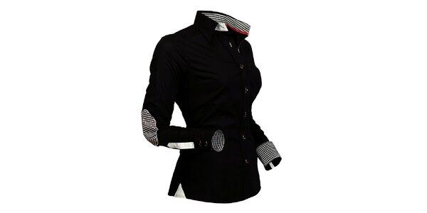 Dámská černá košile s kostičkovanými detaily Pontto