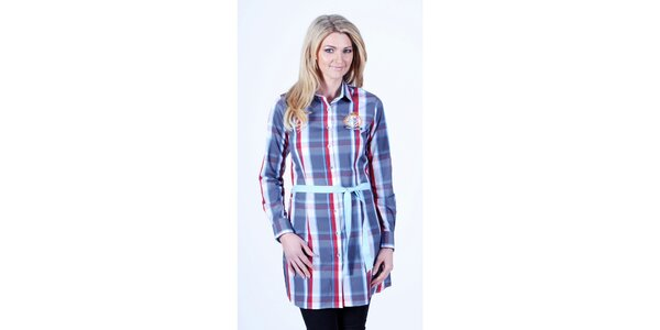 Dámské kostkované košilové šaty se světle modrým páskem Pontto