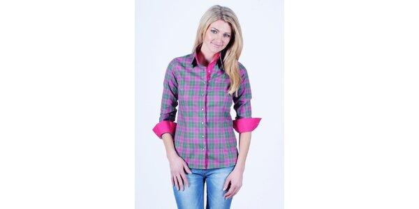 Dámská růžovo-zelená kostkovaná košile Pontto