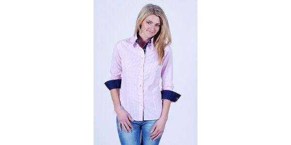 Dámská světle růžová kostkovaná košile Pontto
