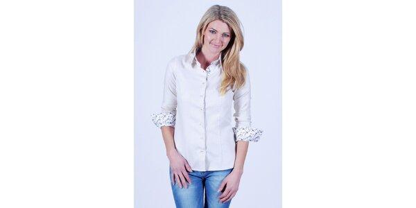 Dámská bílá košile s květovanou légou Pontto