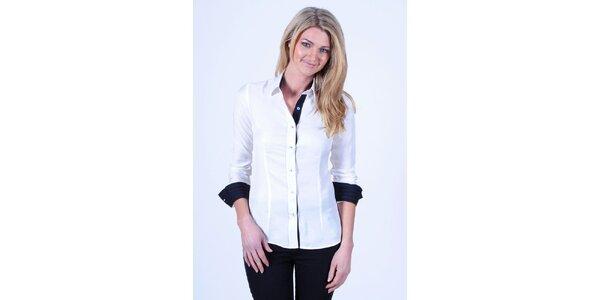 Dámská bílá košile s černými detaily Pontto