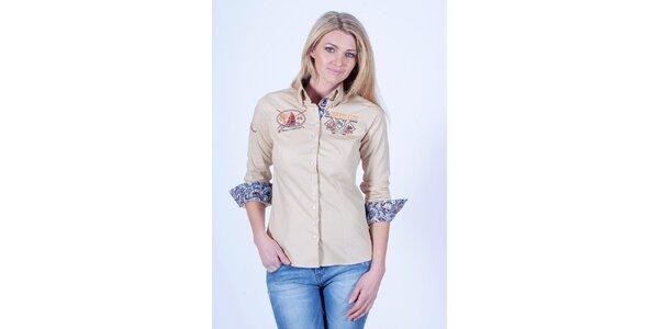 Dámská béžová košile s dekorem Pontto